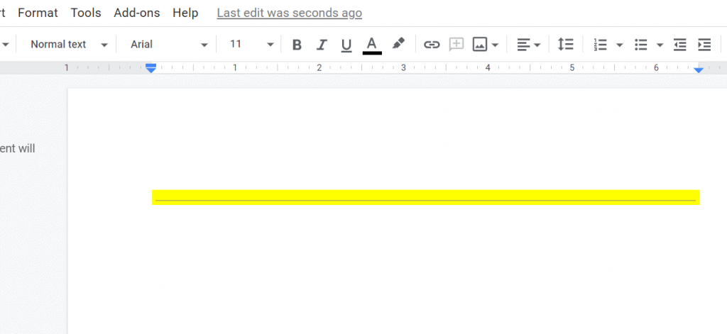 Yello Line Horizontal Google Doc