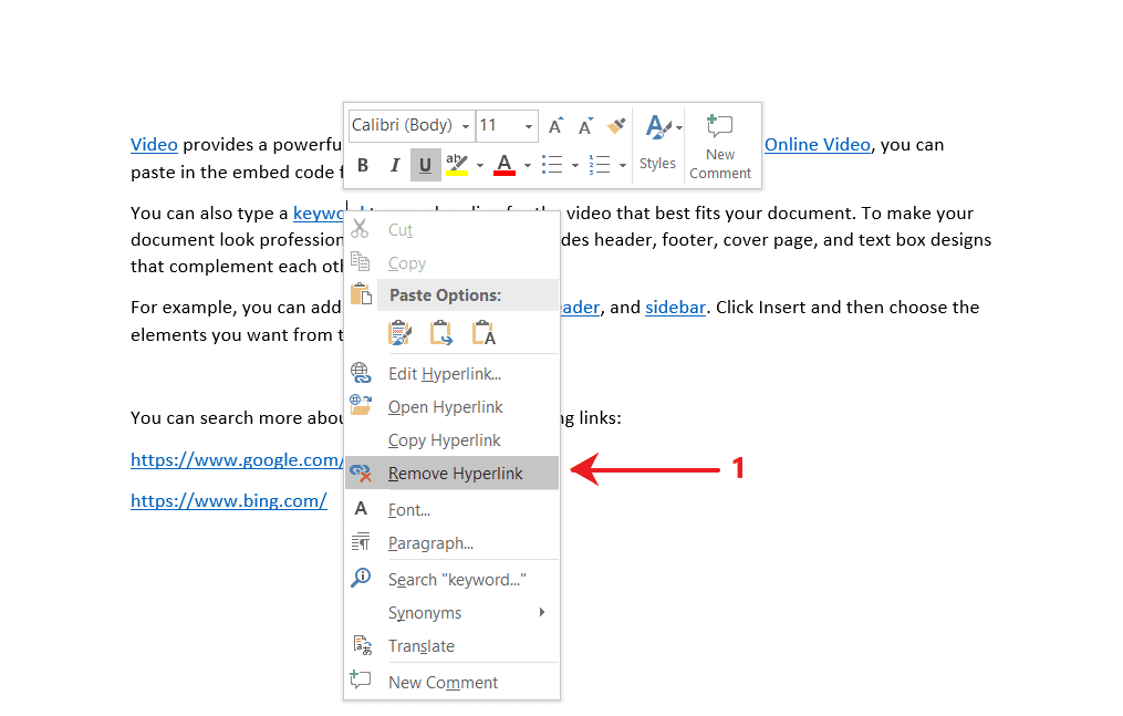 Remove Hyperlink command from the context menu