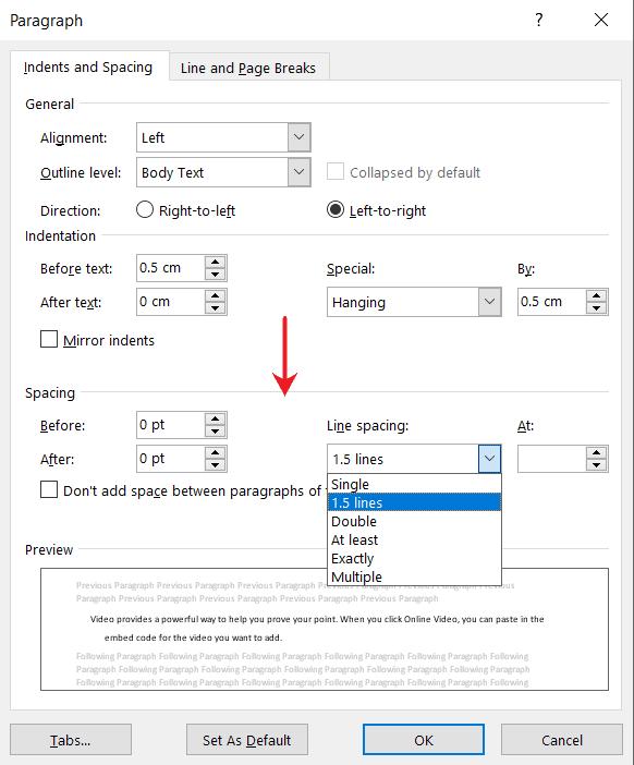 Change bullet spacing in MS word