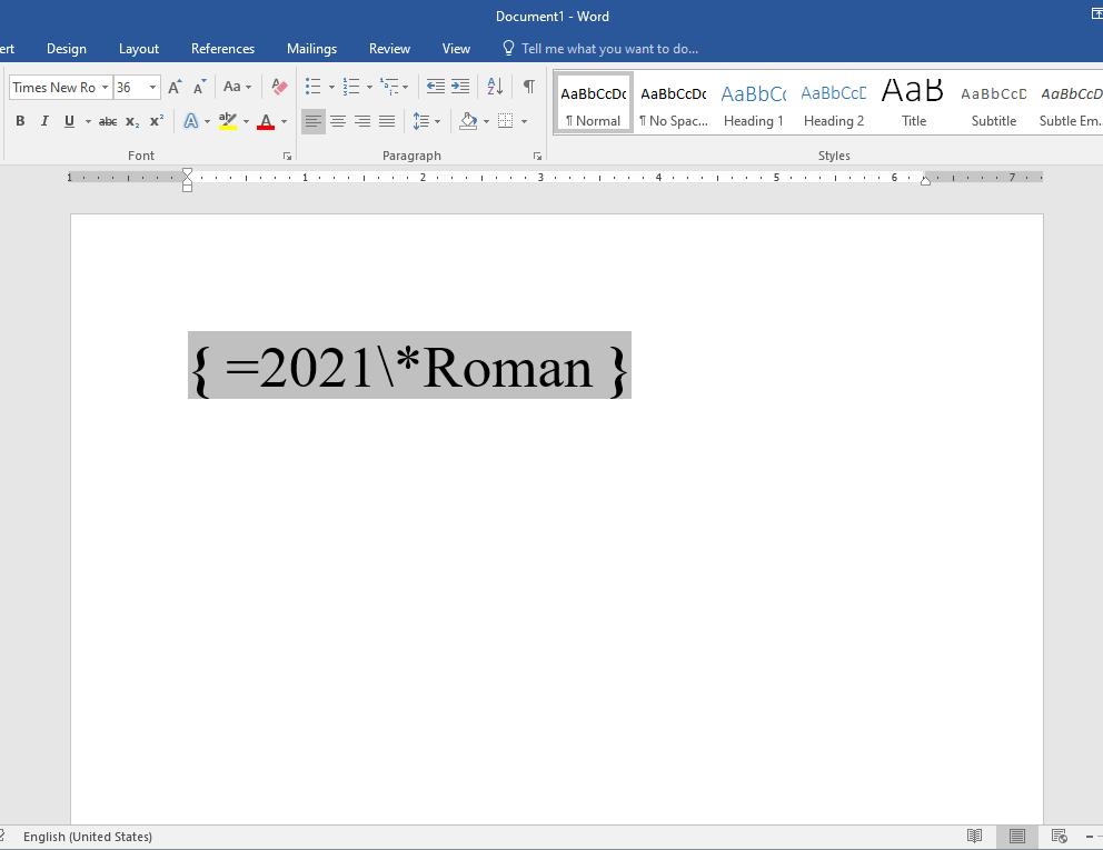Insert Roman numerals in MS word
