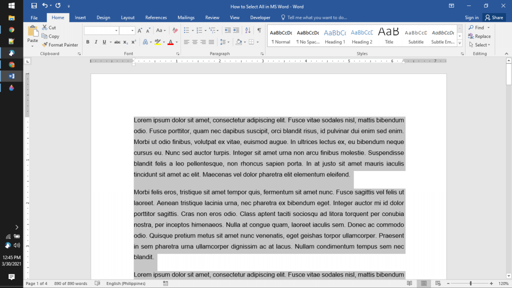 Copy all in MS word